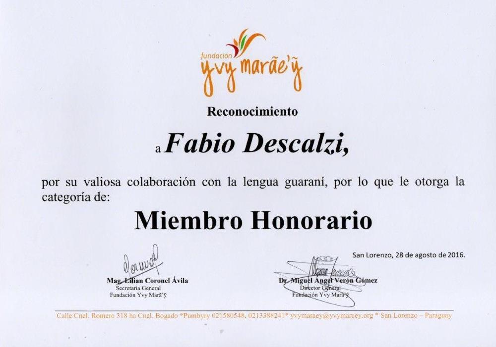 Miembro Honorario Yvy Marae'y
