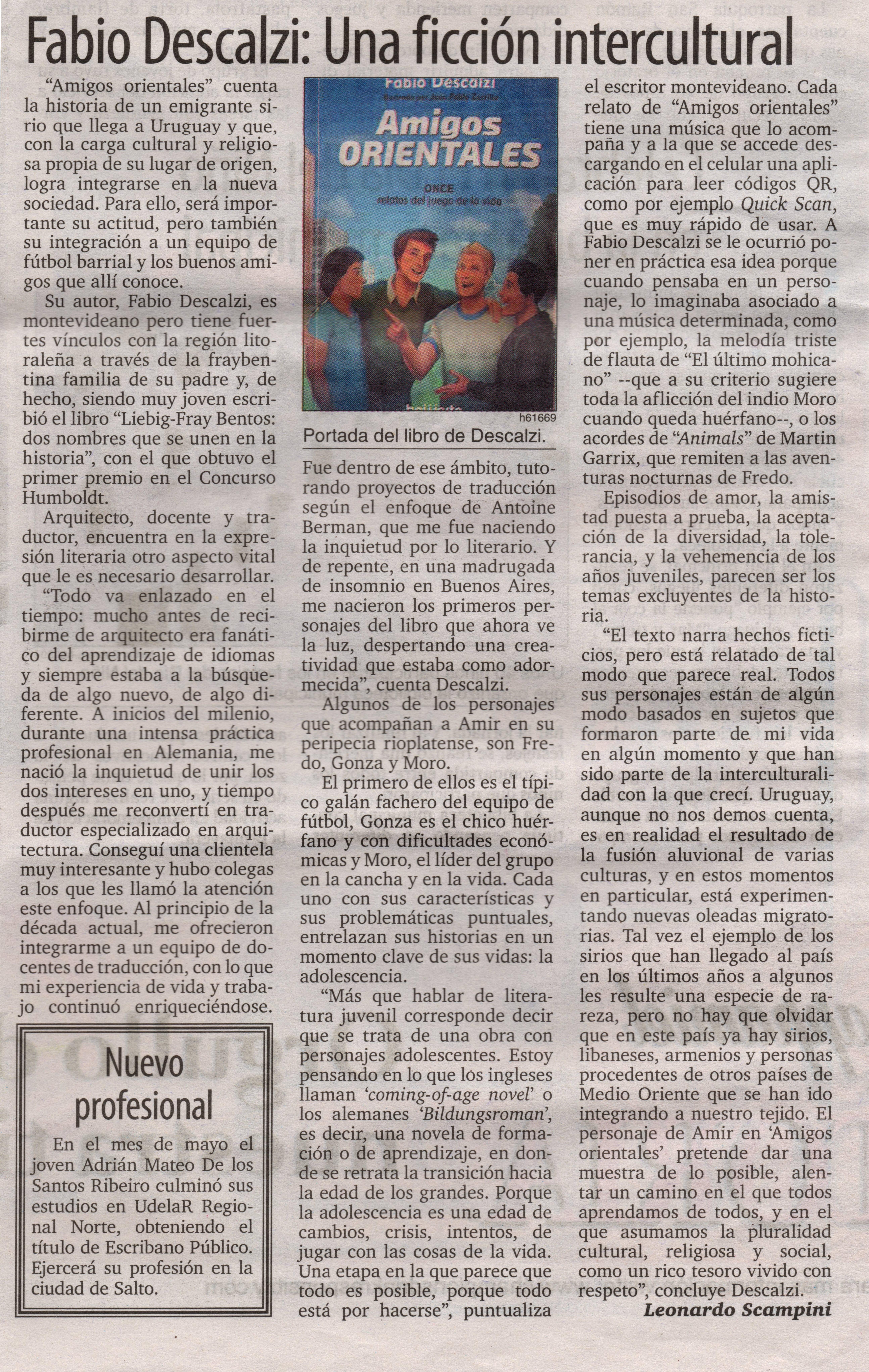 Amigos Orientales en El Telégrafo grande
