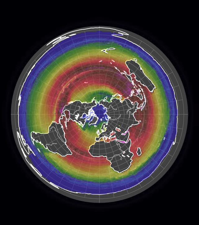 Flat earth map with heat signatures